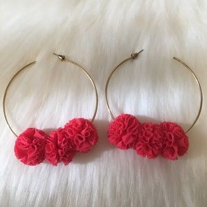 Coral Gauze Gold Hoops